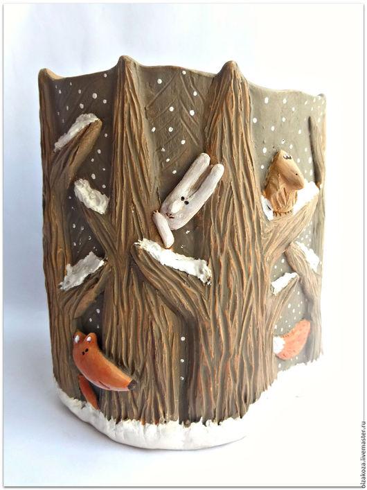 Карандашницы ручной работы. Ярмарка Мастеров - ручная работа. Купить В темном зимнем лесу.  Карандашница. Керамика.. Handmade. Коричневый