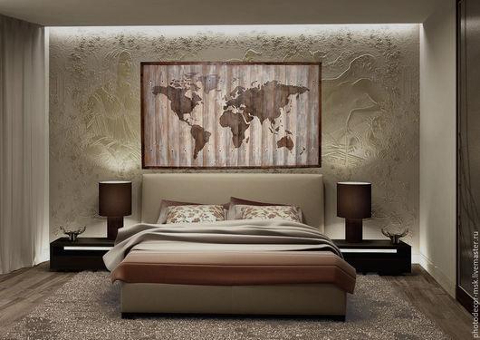 """Город ручной работы. Ярмарка Мастеров - ручная работа. Купить Панно из досок """"Карта мира"""" большое в раме. Handmade. Коричневый"""