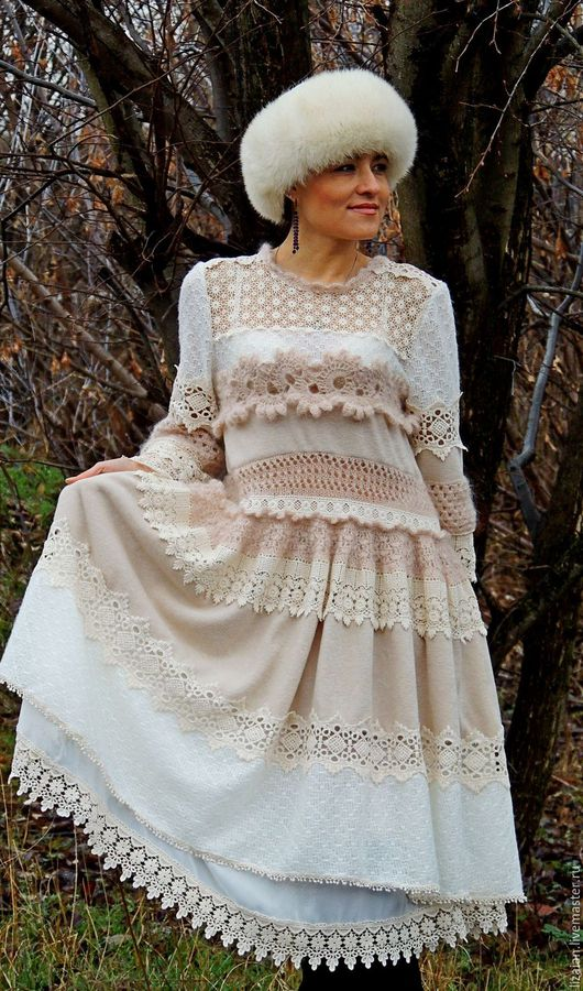 Платья ручной работы. Ярмарка Мастеров - ручная работа. Купить Зимнее БОХО платье (№12). Handmade. Комбинированный, платье из мохера