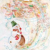 """Картины и панно ручной работы. Ярмарка Мастеров - ручная работа Акварель """"Новогодние конфетти"""". Handmade."""