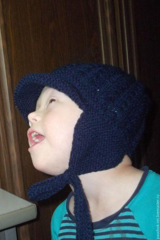 Шапки и шарфы ручной работы. Ярмарка Мастеров - ручная работа. Купить Шапка с ушками, детская.. Handmade. Тёмно-синий
