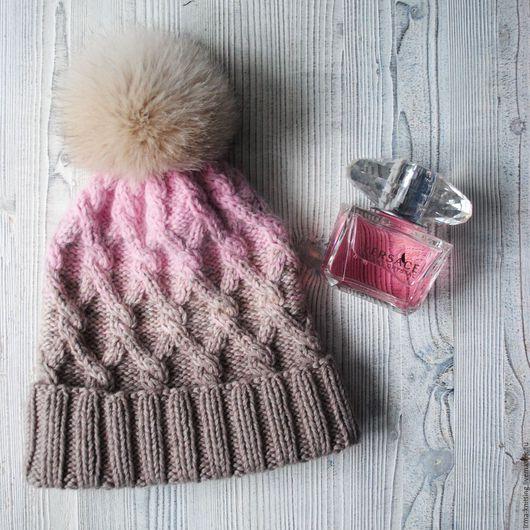 """Шапки ручной работы. Ярмарка Мастеров - ручная работа. Купить Бежево-розовая шапочка """"Нежность"""". Handmade. Бледно-розовый, бежевый"""