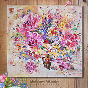 Картины и панно ручной работы. Ярмарка Мастеров - ручная работа Картина маслом «Добрые радости» 60/60см. Handmade.