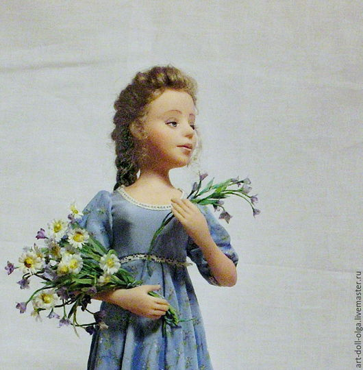 """Коллекционные куклы ручной работы. Ярмарка Мастеров - ручная работа. Купить Авторская коллекционная кукла """"Полевые цветы"""". Handmade. Голубой"""