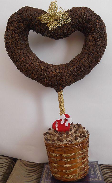 """Топиарии ручной работы. Ярмарка Мастеров - ручная работа. Купить топиарий кофе """"Сердце"""". Handmade. Топиарий"""
