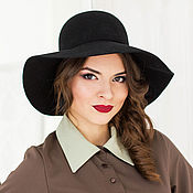 Аксессуары handmade. Livemaster - original item Wide-brimmed hat Classic. Color black. Handmade.