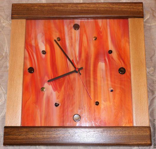 Часы для дома ручной работы. Ярмарка Мастеров - ручная работа. Купить Часы настенные с оранжевым стеклом.. Handmade. Разноцветный