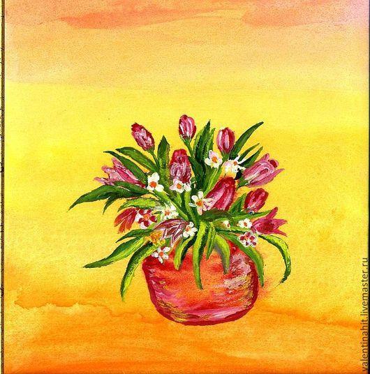 """Комплекты аксессуаров ручной работы. Ярмарка Мастеров - ручная работа. Купить картина """"Весенний букет с тюльпанами"""" (желтый, красный). Handmade."""