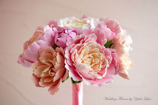 Свадебные цветы ручной работы. Ярмарка Мастеров - ручная работа. Купить Букет невесты с пионами. Handmade. Букет, decoclay