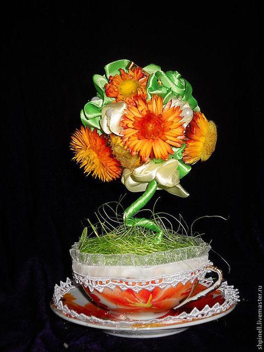 Цветы ручной работы. Ярмарка Мастеров - ручная работа. Купить цветочная композиция в чашке. Handmade. Чашка, фарфор, розы, кружева