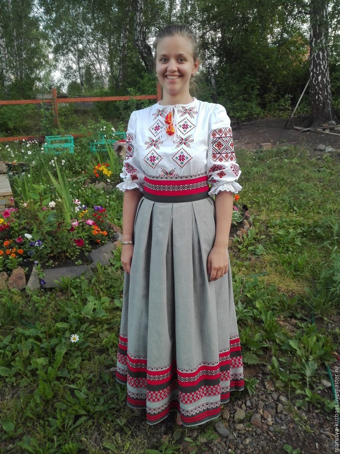 Skirt with traditional ornaments, cotton linen, Skirts, Kemerovo,  Фото №1