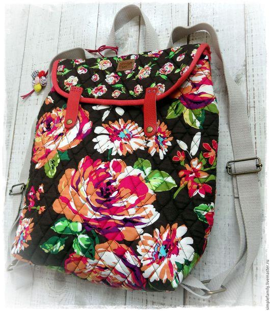 """Рюкзаки ручной работы. Ярмарка Мастеров - ручная работа. Купить текстильный  рюкзак """"цветочный"""". Handmade. Стильный подарок, стильный аксессуар"""