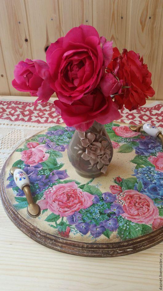 """Кухня ручной работы. Ярмарка Мастеров - ручная работа. Купить Поднос""""Цветочная акварель"""". Handmade. Комбинированный, подарок на любой случай, кухня"""