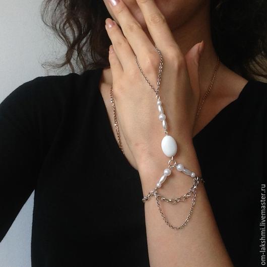 Свадебные украшения ручной работы. Ярмарка Мастеров - ручная работа. Купить браслет из натуральных камней - 6. Handmade. Белый