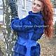 Верхняя одежда ручной работы. Шуба-куртка-жилет синяя из натуральной замши и кролика. Ирина (dneproart). Ярмарка Мастеров.