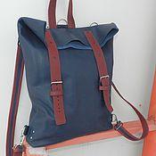 Рюкзаки ручной работы. Ярмарка Мастеров - ручная работа кожаный рюкзак индиго - марсала. Handmade.