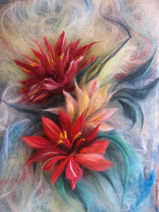 Фантазийные сюжеты ручной работы. Ярмарка Мастеров - ручная работа. Купить Цветы. Handmade. Бордовый, голубой, картина, живопись шерстью