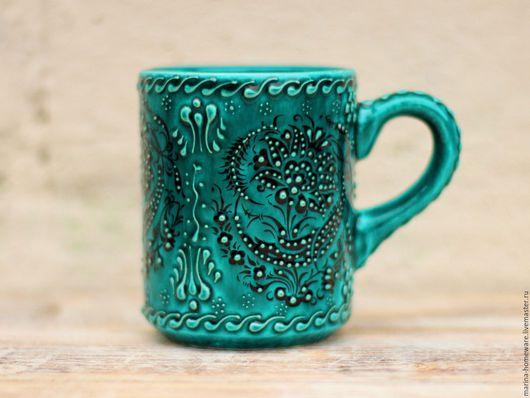 Кружки и чашки ручной работы. Ярмарка Мастеров - ручная работа. Купить Керамическая кружка (зеленая чашка). Handmade. Чашка чая