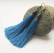 Украшения ручной работы. Ярмарка Мастеров - ручная работа Серьги кисти шелковые синие лазурные купить. Handmade.