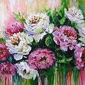 Картины и панно handmade. Livemaster - original item Original acrylic painting on canvas peonies flowers wall dec. Handmade.