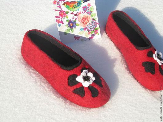 """Обувь ручной работы. Ярмарка Мастеров - ручная работа. Купить Тапочки """"Кармен"""". Handmade. Ярко-красный, подарок девушке"""