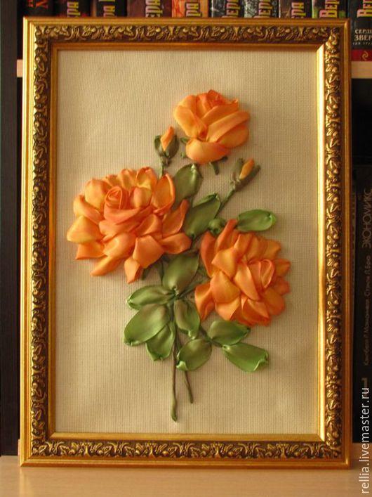 """Картины цветов ручной работы. Ярмарка Мастеров - ручная работа. Купить Картина лентами """" Осенние розы"""". Handmade. Оранжевый"""