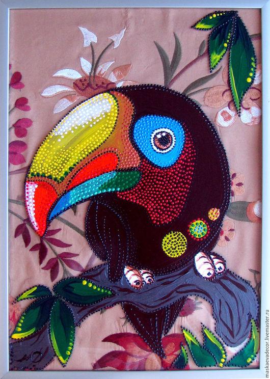 Животные ручной работы. Ярмарка Мастеров - ручная работа. Купить картина,  рисунок на стекле, точечная роспись Тукан 21  х 30 см. Handmade.
