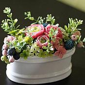 Цветы и флористика ручной работы. Ярмарка Мастеров - ручная работа букет с ранунклюсами. Handmade.
