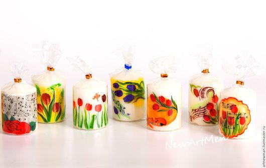 Свечи ручной работы. Ярмарка Мастеров - ручная работа. Купить Коллекция свечей Феерия тюльпанов. Handmade. 8 марта, Праздник