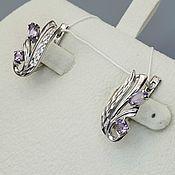 Украшения handmade. Livemaster - original item Silver earrings with amethysts. Handmade.