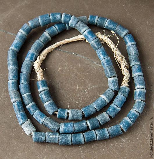 Для украшений ручной работы. Ярмарка Мастеров - ручная работа. Купить Стеклянные серо-синие бусины-трубочки, Африка. Handmade.