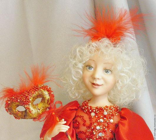 """Коллекционные куклы ручной работы. Ярмарка Мастеров - ручная работа. Купить Коллекционная кукла """"Маскарад"""". Handmade. Ярко-красный"""