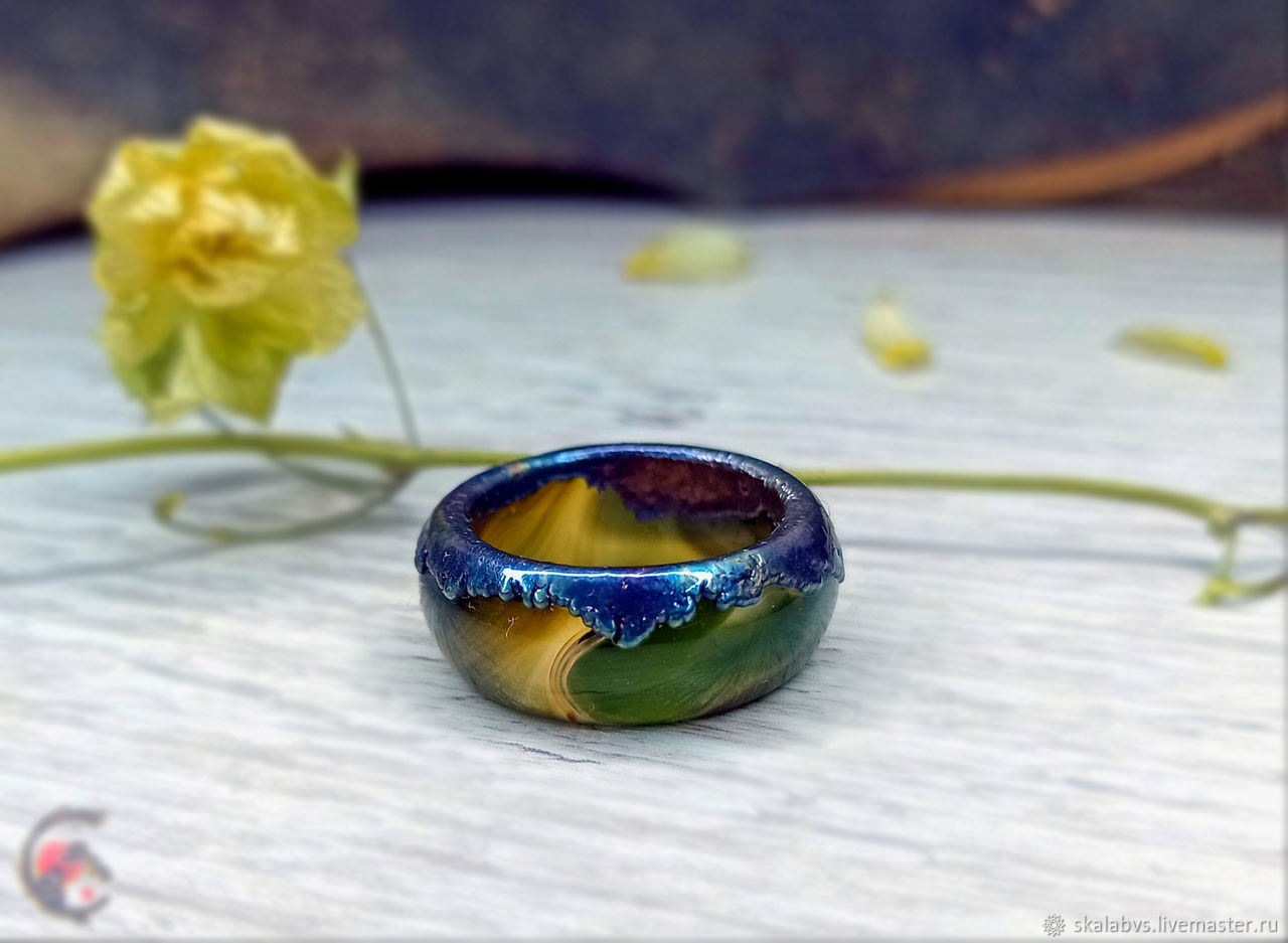 'Abyss' ring cut from solid Agate! # Electroplating, Ring, Chelyabinsk,  Фото №1