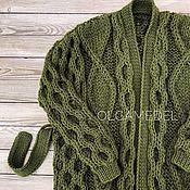 Одежда handmade. Livemaster - original item cardigans: Large knit oversize cardigan in khaki. Handmade.