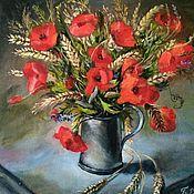 Картины ручной работы. Ярмарка Мастеров - ручная работа Букет красных маков. Handmade.