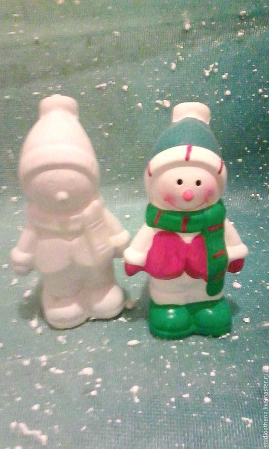 Новый год 2017 ручной работы. Ярмарка Мастеров - ручная работа. Купить Снеговик фигурка. Handmade. Белый, новогодний подарок, гипс