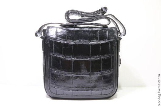 Мужские сумки ручной работы. Ярмарка Мастеров - ручная работа. Купить Сумка мужская из брюха крокодила 2089М. Handmade. Черный