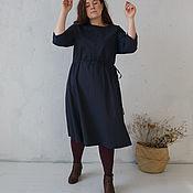 Платья ручной работы. Ярмарка Мастеров - ручная работа Платье на кулиске Синий-Графит. Handmade.