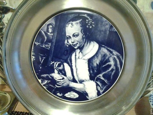 Винтажные предметы интерьера. Ярмарка Мастеров - ручная работа. Купить Голландская тарелка настенная, антикварная. Handmade. Голубой, фарфор, винтаж
