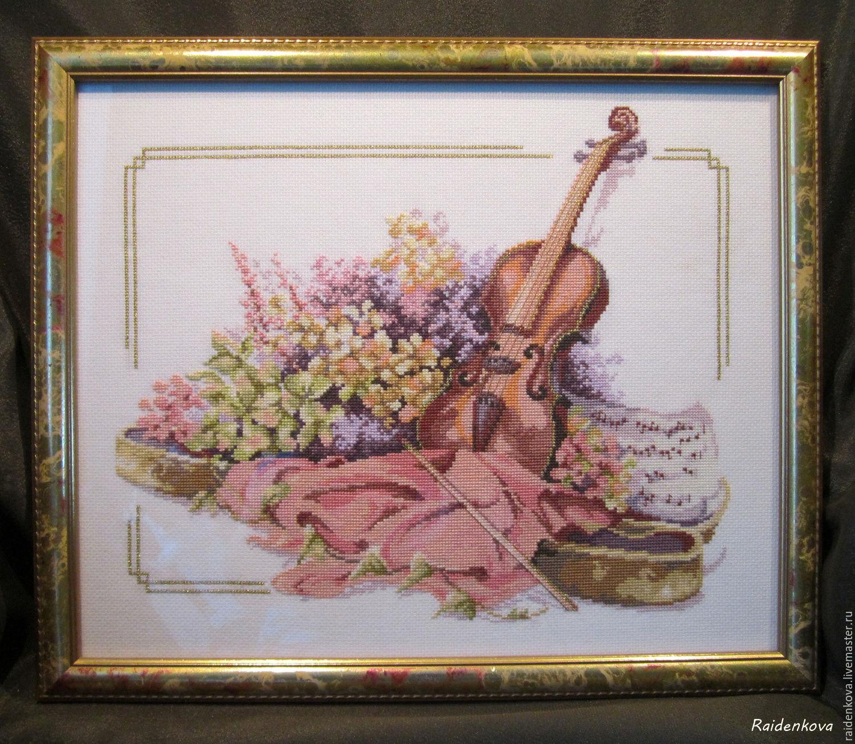 """Вышивка крестом """"Скрипка и цветы"""", Картины, Омск,  Фото №1"""