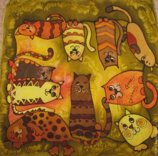"""Шали, палантины ручной работы. Ярмарка Мастеров - ручная работа. Купить Батик платок """"Ах, эти кошки!"""". Handmade. Хаки"""