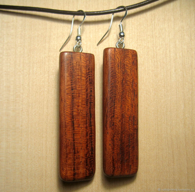 Earrings made of wood 'Bubinga', Pendants, Volgograd,  Фото №1
