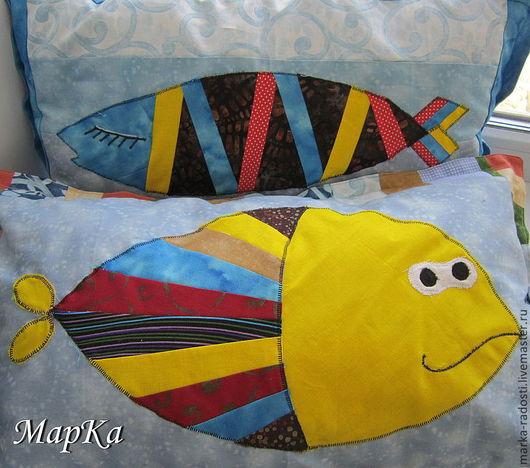 Текстиль, ковры ручной работы. Ярмарка Мастеров - ручная работа. Купить Комплект подушек Рыбки. Handmade. Подушка, пэчворк, хлопок
