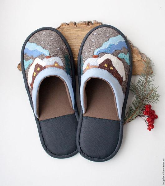 Обувь ручной работы. Ярмарка Мастеров - ручная работа. Купить Тапочки домашние Зимние. Handmade. Коричневый, тапочки женские, домики