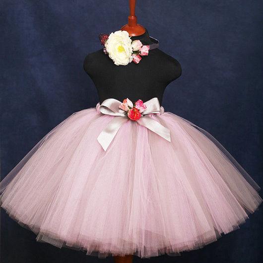 """Одежда для девочек, ручной работы. Ярмарка Мастеров - ручная работа. Купить """"Розовая дымка"""" комплект пышная юбка-пачка и ободок. Handmade."""