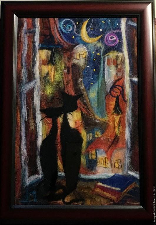 Картина котов ручной работы.Ярмарка Мастеров-ручная работа.Купить картина из шерсти Звездное небо.Санкт-Петербург.Коты.Handmade