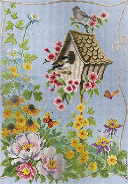 Схема вышивки бисером с полной зашивкой `Весенне утро`