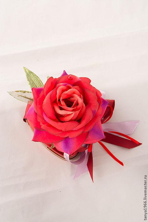 Букеты ручной работы. Ярмарка Мастеров - ручная работа. Купить Комплимент с розой. Handmade. Ярко-красный, подарок женщине