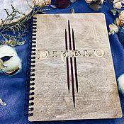 Канцелярские товары handmade. Livemaster - original item Diablo 3 Wooden notebook / Sketchbook. Handmade.