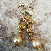 Украшения handmade. Livemaster - original item Cotton pearl earrings-GOLD BEADS. Handmade.